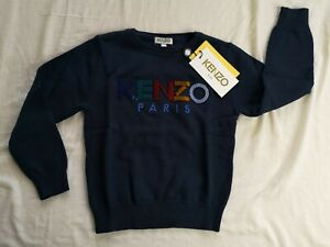 KENZO Kid's Navy Velour Logo Knitted Cotton-Blend Jumper 5 Years New With Tags