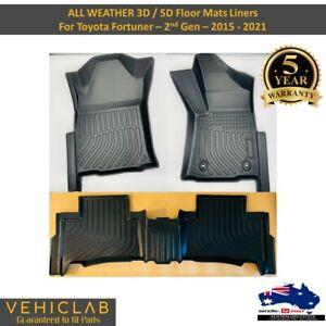 3D All Weather Car Floor Mats liner for Toyota Fortuner 2nd Gen 2015 - 2021
