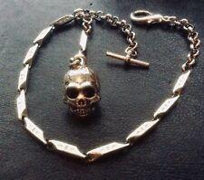Edwardian Physician Memento Mori Vanitas Style Pocket Watch Box Chain Skull Fob