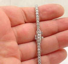"2.88TCW  7"" Natural Genuine Diamond Tennis Bracelet Real Solid 14K White Gold"