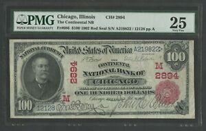 FR686 #2894 $100 1902 RED SEAL NAT'L CHICAGO, ILL. PMG 25 CHOICE VF WLM9790