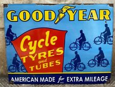 "Vintage ""Goodyear"" Cycle Tires & Tubes Porcelain Enamel Sign 26""x20"""