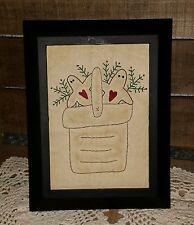 Handstitched Gingerbread Men in a Basket  Primitive 5x7 Framed Stitchery