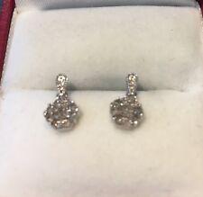 9ct White Gold Diamond Daisy Cluster Earrings