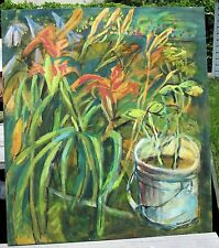 GREEN THUMB  by Ruth Freeman ACRYLIC ON UNSTRETCHED CANVAS 24 X 36