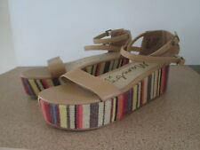 Ladies Mambo Size US 9 Platform Heels Strappy Open Toe Stripes