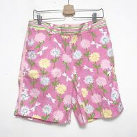 Lilly Pulitzer Pink Floral Dragonfly Bermuda Shorts Womens Size 8