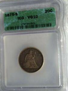 1875-s 20 Cent Piece.  Better Grade. graded VG 10