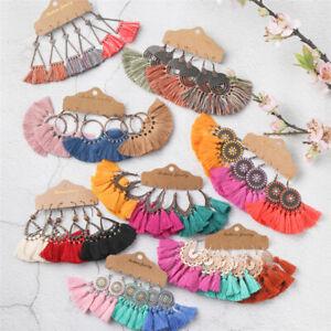 HOT New Bohemian Cotton Tassel Boho Drop Dangle Round Hook Ethnic Earrings Set