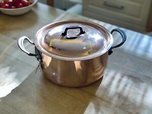 """Mauviel M150c 9.5"""" - 5.5 quart Copper Stew Stock Pot w/ Cast Iron Handle 1.5mm"""