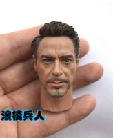 Tony Stark 1/6 Scale Head Sculpt Carving W/neck Calm Iron Man 12'' Male Figure