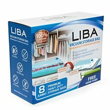LiBa Vacuum Storage Bags (Pack of 8) with FREE Hand Pump