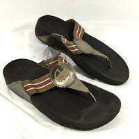 Women's FitFlop Flip Flop Sandals Bronze & Red WALKSTAR Sz 9 EUC