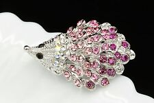 2 Pcs rose pink crystal rhinestone baby hedgehog white gold plate brooch pin D12