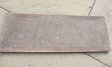 Antico GRANDE PANNELLO IN LEGNO INTAGLIATO PLACCA VINTAGE IN MOGANO DORATO FOGLIA Urna Fiore