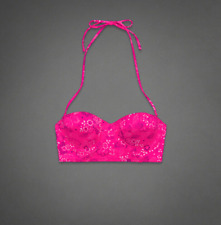 ABERCROMBIE & FITCH Women's Swimwear Bikini Top Pink Floral Top Size L