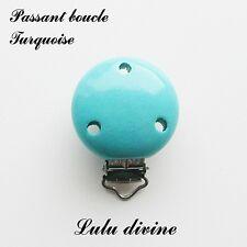 Pince / Clip en bois, attache tétine, passant boucle : Turquoise