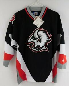 Vintage 1990s NHL Buffalo Sabres Starter Hockey Jersey Youth L/XL Black Red NWT