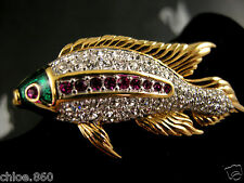 SIGNED SWAROVSKI PAVE' CRYSTAL PAVE' FISH  PIN ~BROOCH RETIRED NEW WITH TAGS