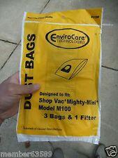 Enviorcare Shop Vac Mighty Mini M100 Vacuum Cleaner Bag 3 Bag + 1 Filter 9010600