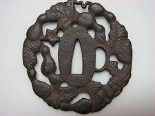Old or Antique Japanese Iron Tsuba for Katana Samurai Sword with gourd design