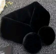New Woman's Girls Black Faux Fur Scarf Collar Pompoms Christmas Gift