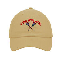 Your Text Here Custom Men's Lacrosse Embroidered SOFT Unstructured Hat Cap