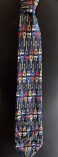 "Guitars Bass Electric Music Instruments Navy Blue Multi-color Men's Tie 58"""