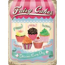 Fairy Cakes Retro Kitchen Shop Cupcakes Muffins 3D Large Metal Steel Wall Sign