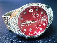 "FRANCHI MENOTTI 9004 Swiss Chrono. RED DIAL ""CRISTALLI SWAROVSKI'S & Mesh Bracelet"