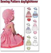 Baby Girl Dress Panties Hat 6 Styles Sewing Pattern 4424 New Size 13-24 lbs. #z
