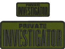 PRIVATE INVESTIGATOR EMB PATCH 4X10 AND 2X5 HOOK ON BACK OD/BLK
