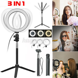 Dimmable 5500K LED Ring Flash Fill Light Selfie Stand Live Makeup Camera