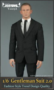 "VORTOYS 1/6 Scale Black Gentleman Suit 2.0 V1005A Fit 12"" Male Figure Model"