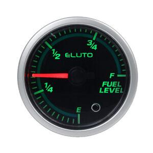 """2"""" 52mm Car Fuel Level Gauge Meter 7 Color LED Display Pointer Fuel Indicator US"""