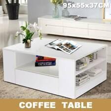 Modern Furniture White Tea Coffee Table Gloss 2 Drawers Desk Living Room Uk