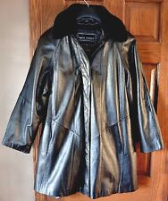 Wilsons Women M Jacket Black Leather Winter Dress Coat Thinsulate Lining Topcoat