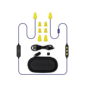 Plugfones Liberate 2.0, Wireless Bluetooth Earplugs, Headphones, Blue/Yellow