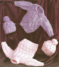 KNITTING PATTERN BABY & CHILD CHUNKY CARDIGAN SWEATER HAT 18 - 28""