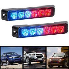 2x 6 LED Car Emergency Warning Beacon Flash Strobe Light Bar Grille Red & Blue