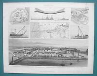 NAVY PORTS Canals Bremerhaven Suez Marseille - 1870s Superb Print