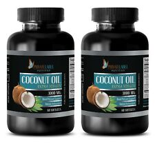 Pure Coconut Oil 3000mg Extra Virgin Non-GMO Fatty Acids 2 Bottles, 120 Capsules