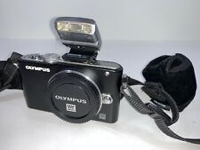 Olympus Pen Lite E-PL3 Black Digital Camera Body Only With Flash Battery Strap