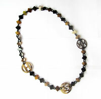 DESIGNER LENA BUFFALO HORN NECKLACE LONG CHAIN JEWELRY HANDMADE
