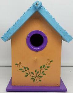 Colorful Birdhouse w/Dragonflies/Butterflies/Flowers~Peach/Blue/Purple~Yard Deco