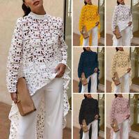 Women Long Sleeve Asymmetri Long Shirt Hollow Blouse High Low Maxi Blouse Top