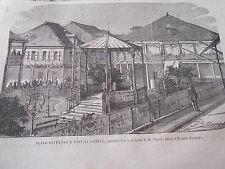 Gravure 1865 - Place Geffrard à Port Au Prince Haïti