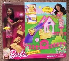 Barbie NIKKI African American AA Doll w/ 2 Motorized Yorkie Dogs Puppy Play Park