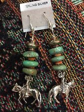 Sterling Silver SPINEY OYSTER AND TURQUOISE CHUNKY EARRINGS W COWBOY & HORSE