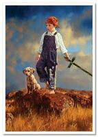Little BOY with DOG Young Knight JIM DALY KIDS ART Modern Postcard